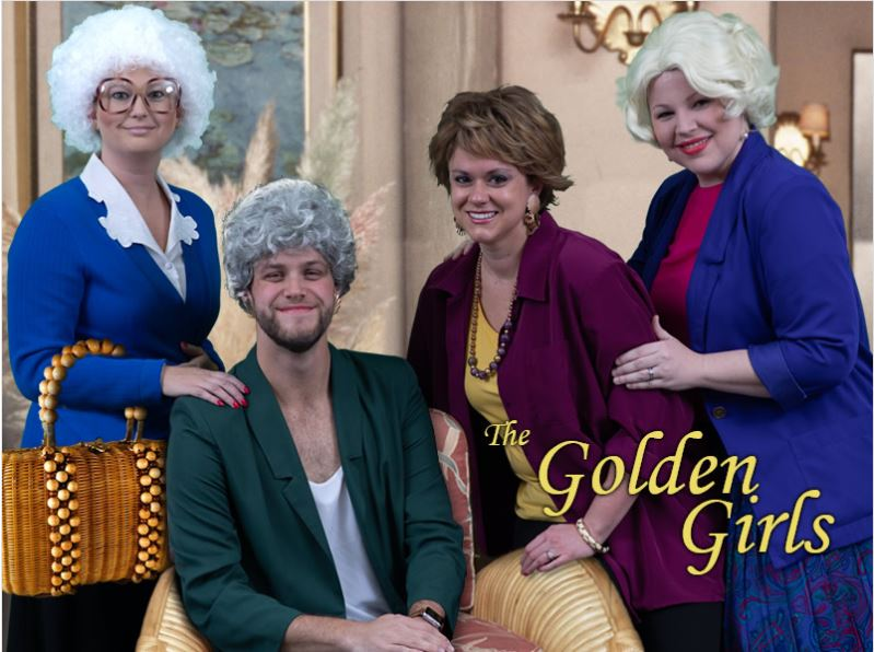 winners in the 12th Annual JSA Costume Contest: The Golden Girls! SOPHIA P& C Underwriter Haley Everett, DOROTHY Assistant Transportation Underwriter Andrew Davis, BLANCHE Transportation Renewal Underwriter Allison Gabriel, and ROSE Assistant Transportation Underwriter Elizabeth Banks.